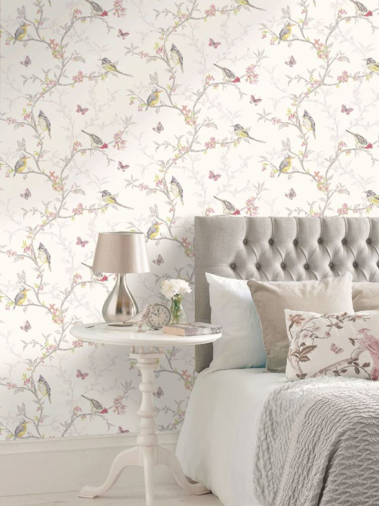 Holden Decor Phoebe White Birds 98080 Wallpaper
